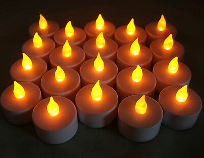 Qty 20 Battery Operated Flickering AMBER LED Tealights Tea Lights Flameless