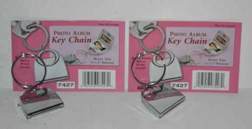 New Set of 2 Key Chain Photo Album Silver Finish Metal Purse Locket KeyChain