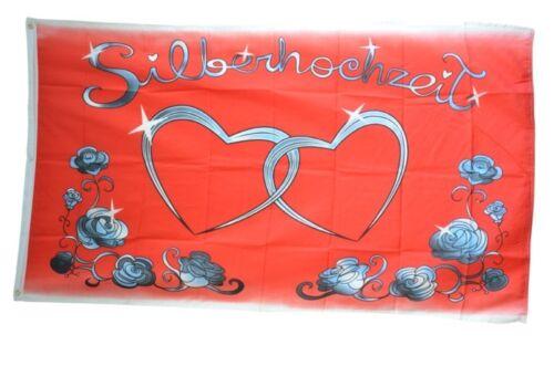 Fahne Silberhochzeit Flagge Hochzeits Hissflagge 90x150cm