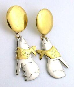 One-Pair-Southwest-Brass-Steel-Howling-Coyote-Moon-Pair-Earring-EBS2524