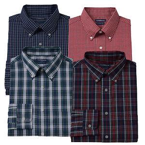 New-Croft-amp-Barrow-Men-039-s-Classic-Fit-Plaid-Button-Down-Collar-Dress-Shirt-32