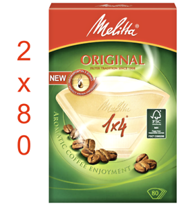 MELITTA COFFEE FILTER Papers ORIGINAL Size 1x4 (2 Packs x 80 Filters) 160 pcs