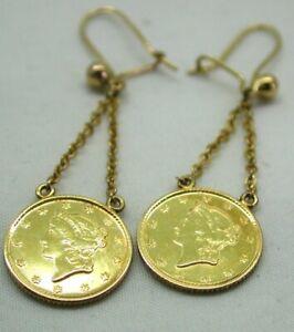 Antique-Rare-High-Carat-Gold-1853-1854-American-Dollar-Dropper-Earrings