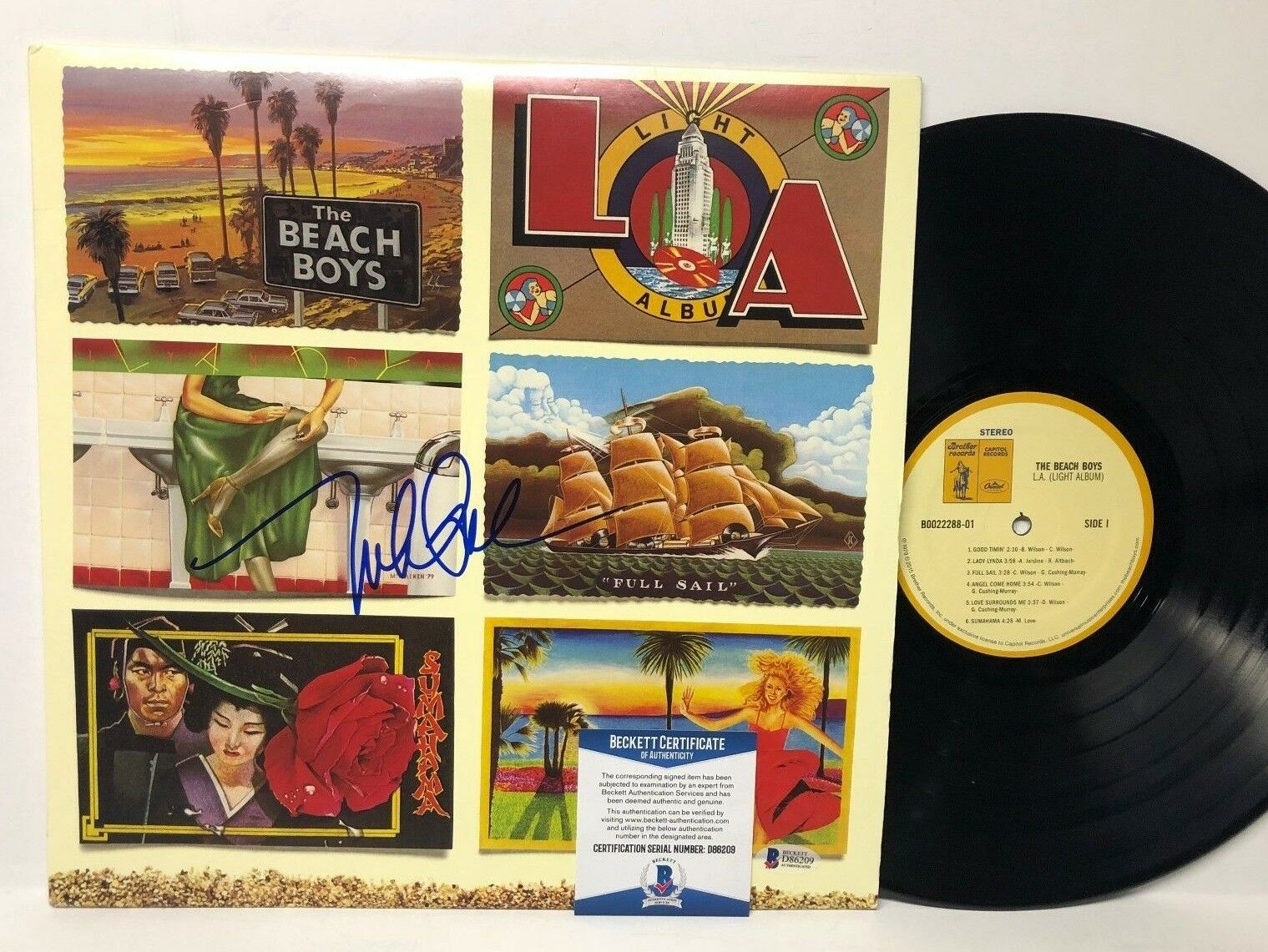 Mike Love Signed Beach Boys LA Light Album LP Record Album BAS Beckett D86209