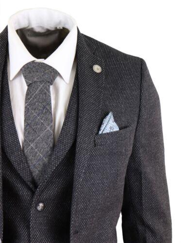 Mens Wool 3 Piece Suit Tweed Charcoal Black Tailored Fit Peaky Blinders Classic