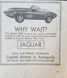 1964 Jaguar Xke Photo Annapolis Maryland Car Dealership Newspaper