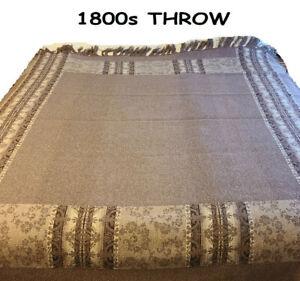 Wool-Throw-Blanket-Vintage-Antique-1800s-Reversible-Brown-70-034-x-70-034-Fringed
