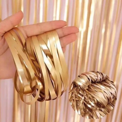 2M Foil Fringe Tinsel Shimmer Curtain Birthday Party Wedding Photo Background