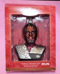 Star-Trek-2000-Blown-Glass-Lt-Commander-WORF-Ornament-Keepsake-Hallmark-DS9