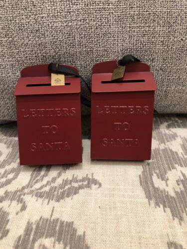 *SET OF 2 HEARTH /& HAND W//MAGNOLIA RED LETTERS TO SANTA CHRISTMAS TREE ORNAMENTS