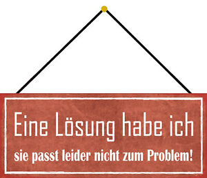 Solution For Not to The Problem Shield with Cord Tin Sign 10 X 27 CM K0613-K