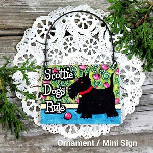 Cute-Wood-Ornament-Scottie-Dogs-Rule-Mini-Hanger-for-peg-DecoWords-USA-New