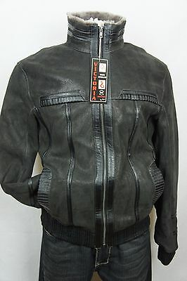 Brown GENUINE 100% SHEEPSKIN Shearling Leather Car Coat Bomber Jacket S-8XL, NWT