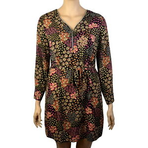 Details about PLUS SIZE BLACK FLORAL ZIP FRONT LONG SLEEVE BELTED TUNIC  DRESS Sizes 16-30