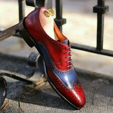 Mens formal casual Leather red blue patina brogue shoes for suit blazer tuxedo