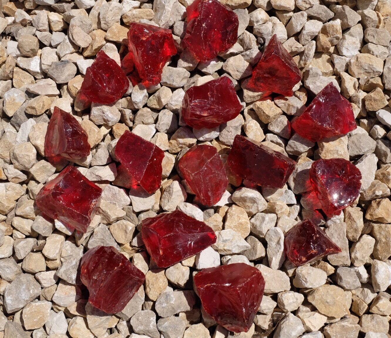 Gartendekoration Glasbrocken Glassteine Wassermelone rot 20-40mm 40-80mm glas