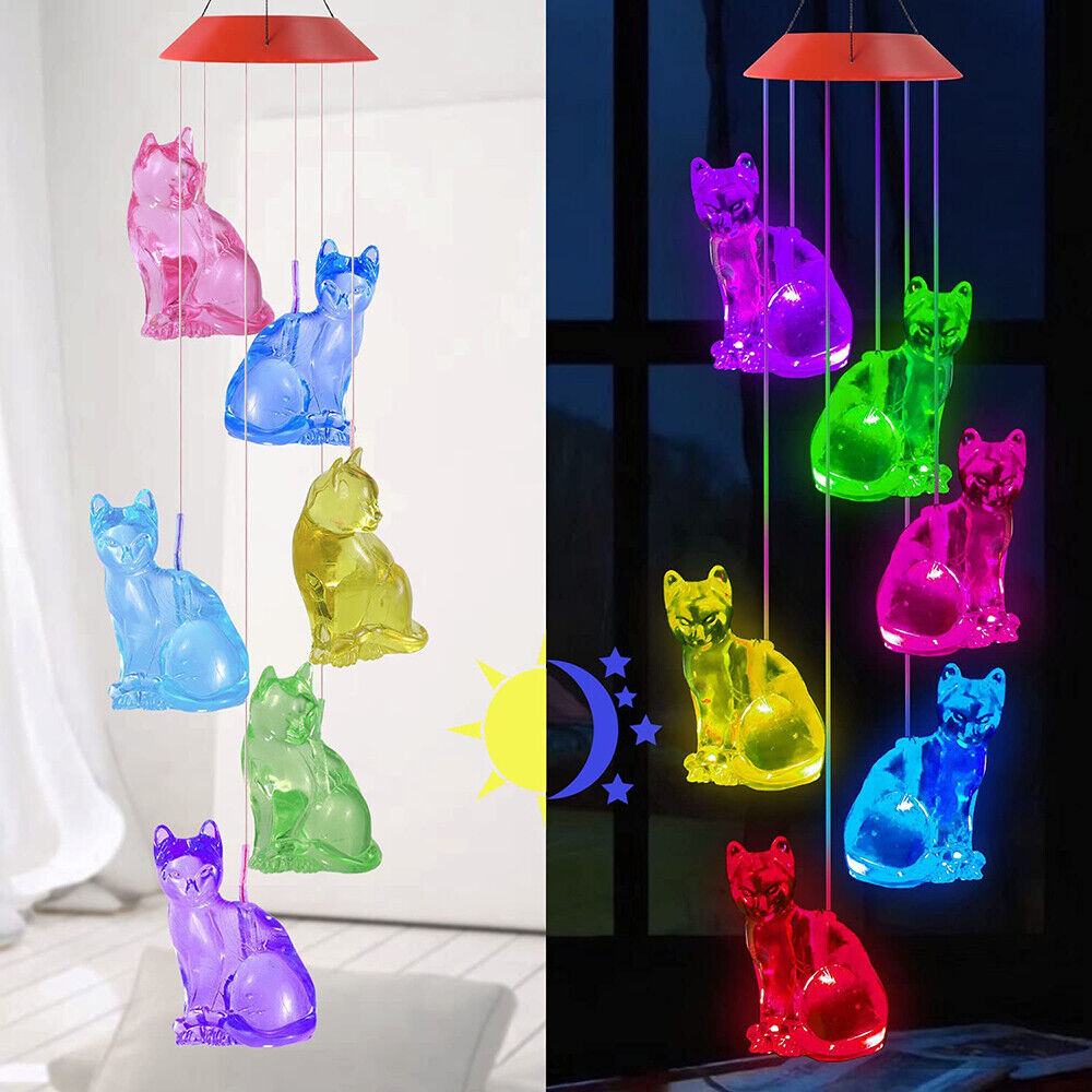 Waterproof Solar Powered Color Changing Cat Wind Chim Lights Outdoor Decor Gifts