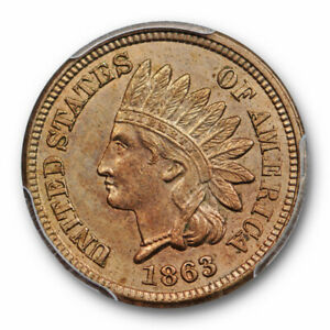 1863-1C-Indian-Head-Cent-PCGS-MS-63-Uncirculated-Crusty-Original-Cert-7841