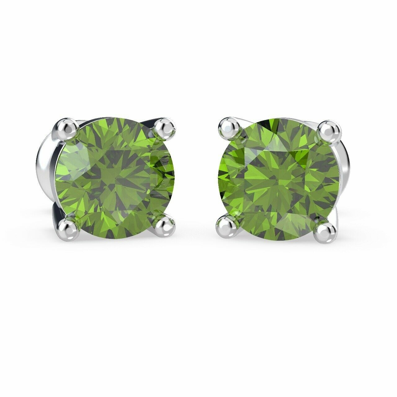 100% Natural 1.00 Carat Round Shaped Peridot Stud Earring