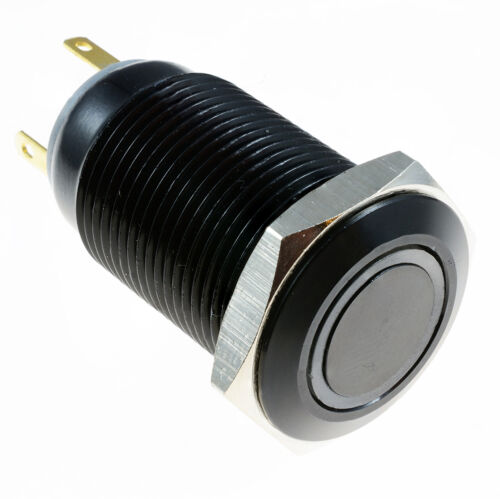 Yellow Vandal Metal LED Momentary 16mm Black Push Button Switch 12V SPST