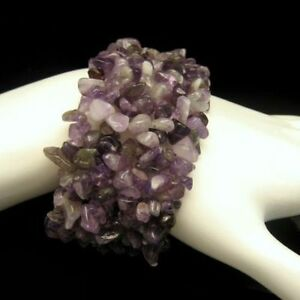 Purple-Amethyst-Chips-Extra-Wide-Statement-Bracelet-Vintage-Beautiful-Stretch