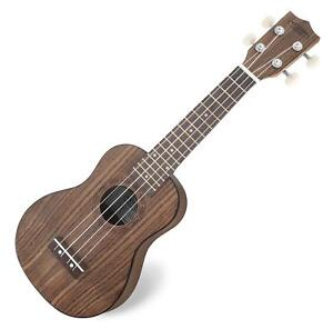 Classic-Cantabile-Ukulele-Walnuss-Holz-Uke-Hawaii-Gitarre-Sopran-Mensur-Braun