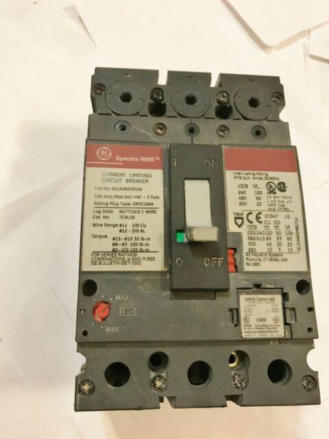 GENERAL ELECTRIC SPECTRA SELA36AI0100  600V 100A  3P CIRCUIT BREAKER SRPE100A100