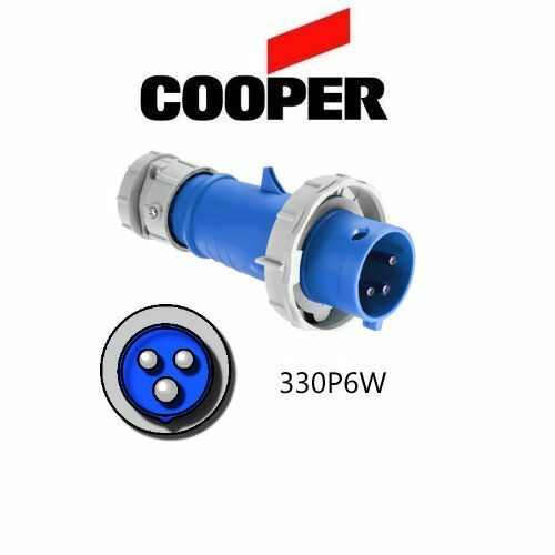Cooper # AH330P6W 30A IEC 309 330P6W Plug 250V 2P//3W Blue