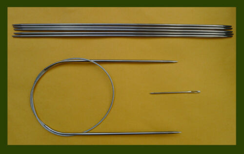 """Stainless steel knitting needle set~ circular 24/""""  and DP 10/"""" US 2B 2.75mm"""