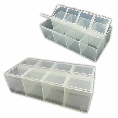 8 Compartment Plastic Bead Craft Jewellery Storage Organiser Container Box