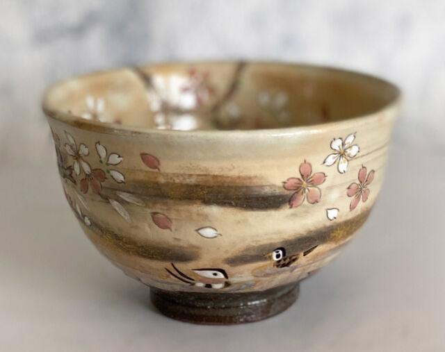 Kyoto Tea Bowl Matcha Chawan Kyo Kiyomizuyaki wareCherry Overglaze Gold Japan