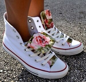 Converse Customized White Hi Alte Flowers Fiori Roses Rose Pink Violet 2018