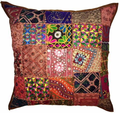 """Large Cushion Cover 24x24/"""" 60cm Zip Floor Patchwork Indian Mirror TAPESTRY EDH"""