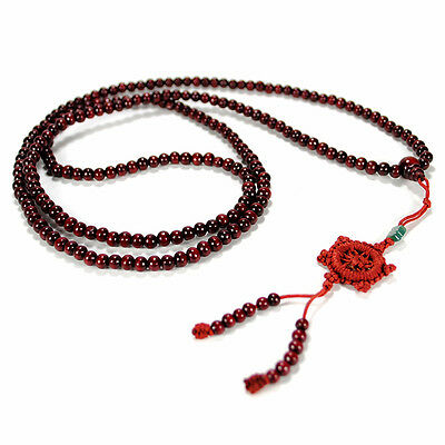 GENUINE ROSEWOOD MALA Prayer Bead 6mm Wood Necklace Wrap Bracelet Stretch Red