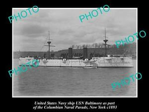 OLD-LARGE-HISTORIC-PHOTO-OF-US-NAVY-WARSHIP-THE-USN-BALTIMORE-c1893-NEW-YORK