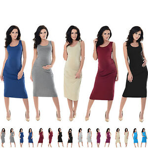 0fb5217098 Image is loading Purpless-Maternity-Sleeveless-Jersey-Ruched-Pregnancy-Midi- Dress-
