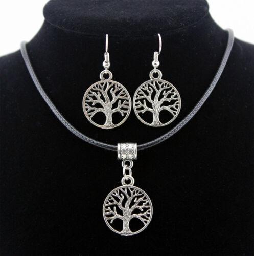 Conjunto collar y pendientes símbolos de la suerte arbol de la vida o elefantes