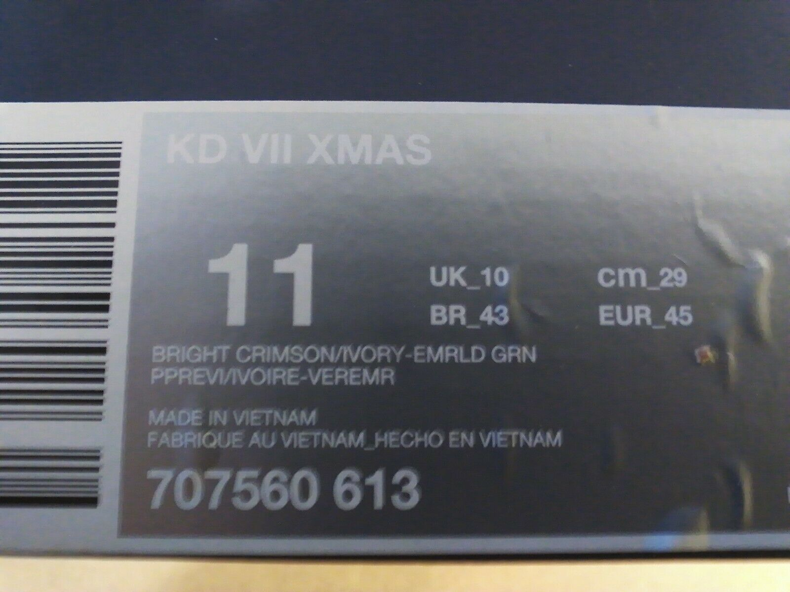 Nike KD VII XMAS    Size 11    color = Bright Crimson Ivory - Emerald Green