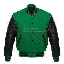 Varsity Letterman Wool  Jacket with Leather Sleeves XS TO 4XL