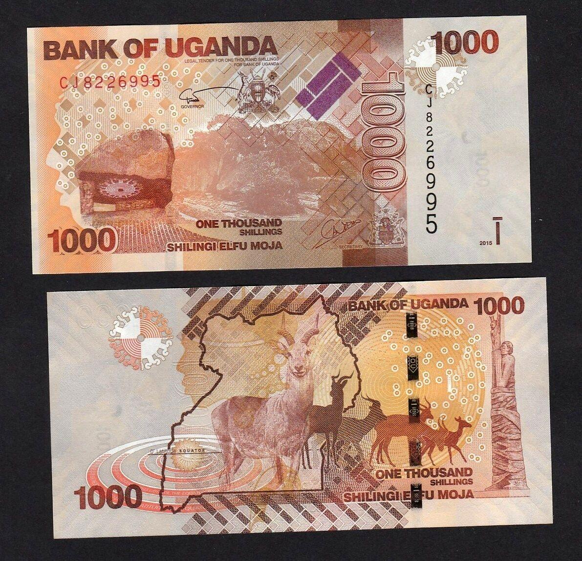 UGANDA 1000 Shillings P-49d UNC Banknote Paper Money 2015