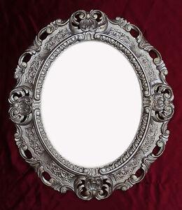 Espejo-de-pared-PLATA-ENVEJECIDA-oVALO-45x38cm-Barroco-Antiguo-Repro-Vintage-345