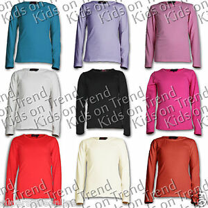 GIRLS-Top-Long-Sleeve-T-Shirt-Plain-100-Cotton-Age-7-8-9-10-11-12-13-Yrs-NEW