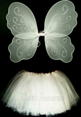 Princess Wings and Tutu Fancy Dress Set Girls Butterfly Party Costume Pink White