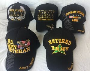 b8482c130c6 US MILITARY EMBROIDERED ADJUSTABLE BALL CAP HAT ARMY RETIRED VIETNAM ...