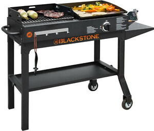 BBQ Charcoal Grill Griddle Blackstone Duo Combo Flat Top Outdoor Gas Cooking