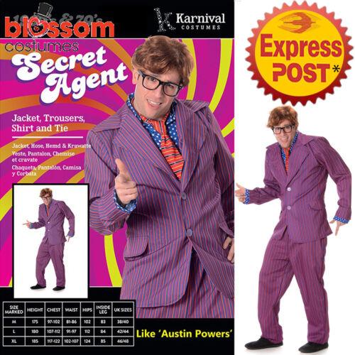 CA242 Secret Agent Austin Power Dr Evil Shag Mens 1960s Fancy Dress Suit Costume