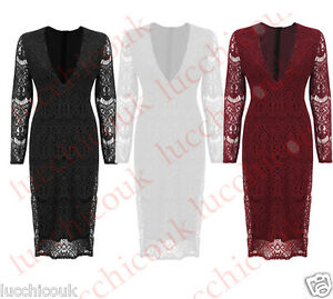 New Ladies Womens Plunge Neck Long Sleeved  Midi Lace Bodycon Dress Sizes 6-14