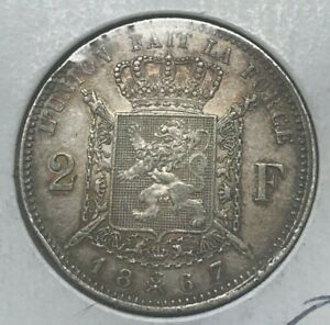 1867-Belgium-2-Francs-Des-Belges-Scarce-Silver-With-Cross-on-Crown