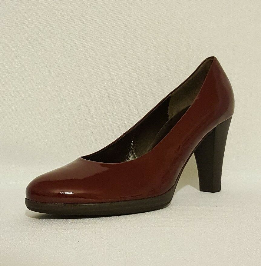 NEW LADIES GABOR rouge BURGUNDY PATENT LEATHER HIGH HEELS COURT chaussures WOMANS