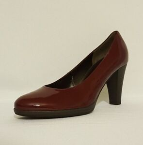 7db7dce9c00 NEW LADIES GABOR RED BURGUNDY PATENT LEATHER HIGH HEELS COURT SHOES ...